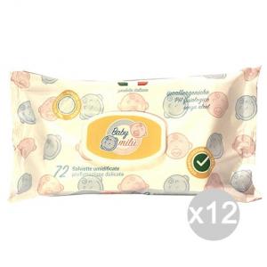 Set 12 BABY MILU' Salviette Argan Bimbi X72 Con Coperchiocio Igiene E Cura Del Bambino
