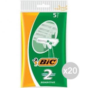 Set 20 BIC 2 Bilama Sensitive 5 Verde Rasoio Rasatura Viso E Corpo