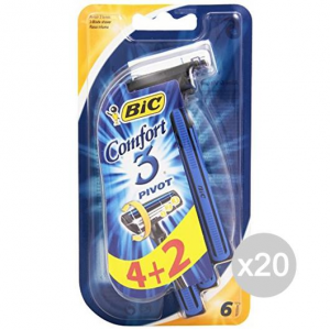 Set 20 BIC 3 Comfort Pivot X 4+2 Shaving Razor Face And Body
