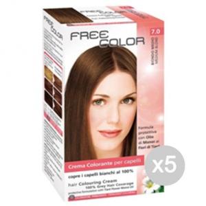 Set 5 FREE COLOR 7.0 Biondo Medio Tinta E Colore Per Capelli