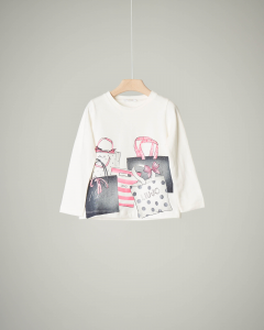 T-shirt bianca  shoppers 2-6 anni
