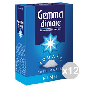 Set 12 Sale Fino Astucciato Iodato 1 Kg Gemma Di Sale 108751 Condimenti E Spezie