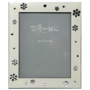ARKE' Portafoto Silver Satinato Con Fiori Cm.20X25 Articoli Regalo
