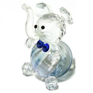 C.T.F. Elefante Cristallo/Vetro Blu Cm.6X4 Articoli Regalo Oggettistica