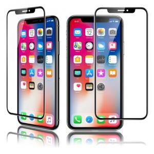 QDOS OptiGuard cristal curva para iPhone de Protección X - Marco Negro