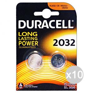 Set 10 DURACELL Specialistiche 2032 3 Volt 2 Pezzi Lithium Pile E Batterie