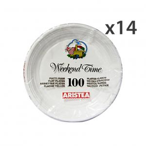ARISTEA Set 14 Piatti PIANI X 100 Pezzi Piatti