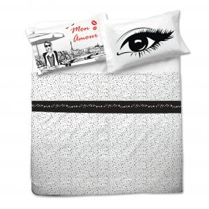 Completo lenzuola matrimoniale MON AMOUR stampa digitale bianco e nero