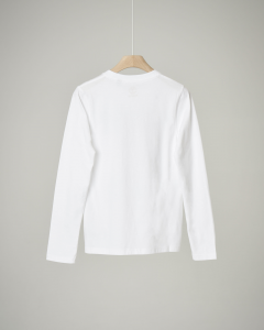 T-shirt bianca a manica lunga con stampa 8-16 anni