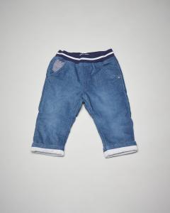 Pantalone blu in velluto con elastico in vita 3-18 mesi