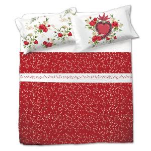 Completo lenzuola matrimoniale PASSION stampa digitale floreale rosso
