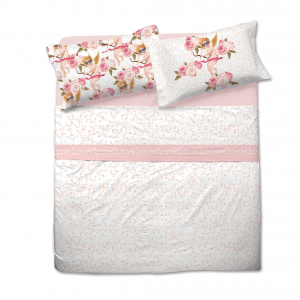 Completo lenzuola matrimoniale CUPIDO stampa digitale floreale rosa