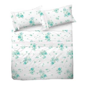 fc768ee1f7 Completo lenzuola matrimoniale PENELOPE floreale verde acqua con pizzo