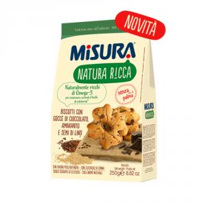 MISURA Biscotti Con Gocce Di Cioccolato Amaranto E Semi Di Lino Natura Ricca 250 Grammi