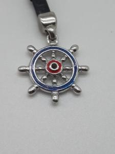 Portachiavi in argento e cuoio con timone smaltato, vendita on line | GIOIELLERIA BRUNI Imperia