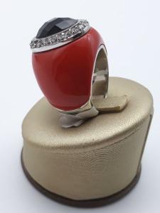 Anello Donna in argento fantasia con onice zirconi e smalto rosso Vendita online | GIOIELLERIA BRUNI Imperia