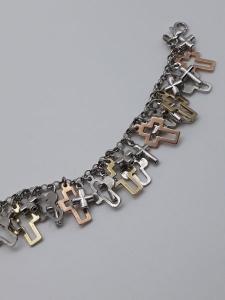 Bracciale donna charms con crocette in argento 925 con catena rollo, vendita on line | GIOIELLERIA BRUNI Imperia