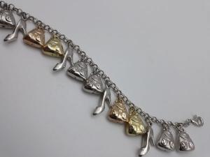 Bracciale donna charms con borsette e scarpette in argento 925, vendita on line | GIOIELLERIA BRUNI Imperia