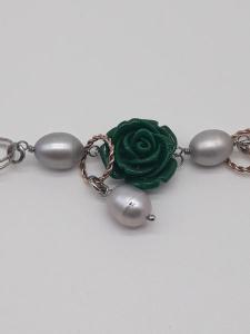 Bracciale donna in argento con rosa di Agata verde e madreperla grigia, vendita on line | GIOIELLERIA BRUNI Imperia
