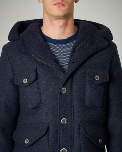 Parka corto blu in lana cotta