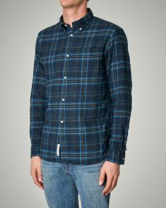 Camicia fantasia check blu e azzurra