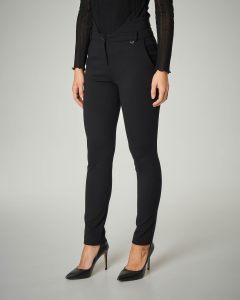 Pantalone nero in viscosa stretch con fascia in vita