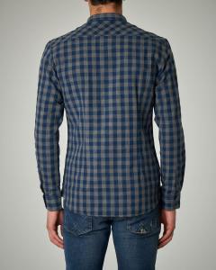Camicia a quadri blu e grigi