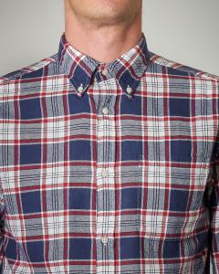 Camicia fantasia check blu e rossa
