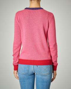 Maglia girocollo rosa con scritta jacquard
