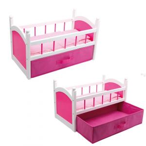 Lettino in legno per Bambole colore Rosa con biancheria e cassetto