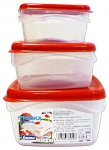 BAMA Contenitori Plastica Con Sfiato 3 Pezzi Quadro Articolo 46090 Per Alimenti