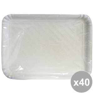 Set 40 Tray Charter Rectangular White BioDEG.29x38 Cm X2 Pieces 63066 Containers For the Kitchen