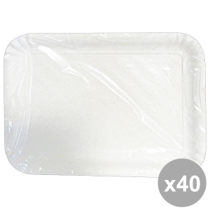 Set 40 Tray Charter Rectangular White BioDEG.22x31 Cm X3 Pieces 63064 Containers For the Kitchen