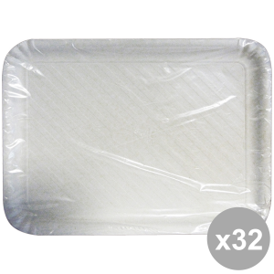 Set 32 Tray Charter Rectangular White Biodeg.33x47 Cm X2 Pieces 63068 Containers For The Kitchen