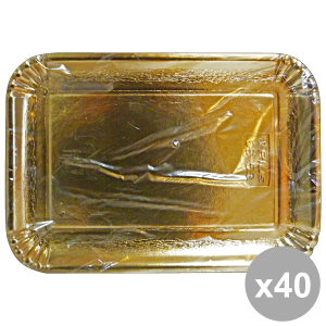 Set 40 Tray Charter Rectangular GOLD 21x31 Cm X3 Pieces 63070 Containers For the Kitchen