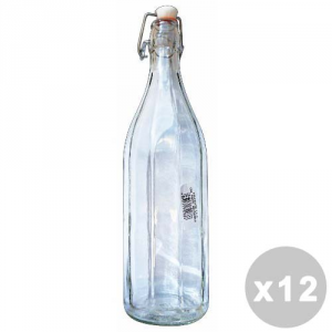 Set 12 Glass Bottle 1000 Cc. With Cap Automatic