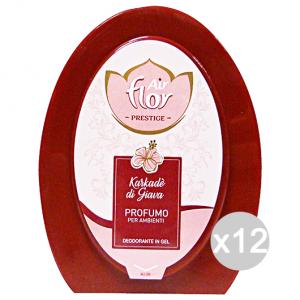 Set 12 AIR FLOR Assorbiodori Gel Karkade'Di Giava 150 Gr Deodorante Profumatore Ambiente