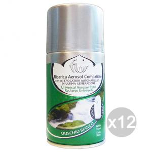 Set 12 AIR FLOR Ricarica 250 Ml Muschio Bianco Deodorante Profumatore Ambiente
