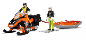 Bruder Snowmobile With Figure Rescue Sled And Snow Skier Half Male Game 398