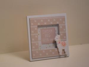 Portafoto in legno quadrata beige con Lama stile Shabby Chic cm.14,5x14,5