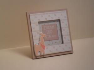 Portafoto in legno quadrata bianca con Lama stile Shabby Chic cm.14,5x14,5