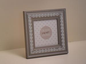 Portafoto in legno quadrata Grigia stile Shabby Chic cm.16x16x16h