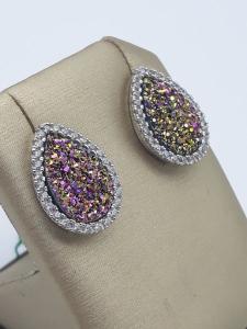 Orecchini con geodi multicolore zirconi in argento 925  GIOIELLERIA BRUNI