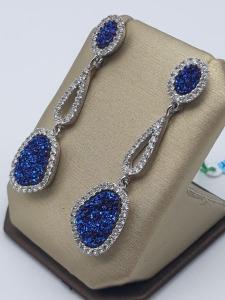 Orecchini pendenti con geodi blu e zirconi in argento 925 | GIOIELLERIA BRUNI