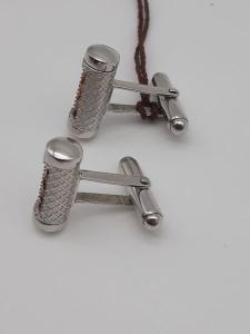 Gemelli in Argento 925 e inserti in cuoio fiorentino vendita on line | GIOIELLERIA BRUNI Imperia