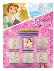 MULTIPRINT Set 5 Timbrini Con Tampone E 3 Matite Colorate Disney Princess Timbro 651