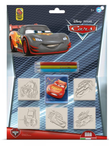 MULTIPRINT Set 5 Timbrini With Buffer And 3 Pencils Colored Disney Cars Stamp 339