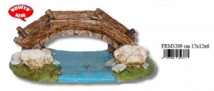 EUROMARCHI Bridge With Sheep Cm 17X12X6 Accessories Nativity scene Christmas Gift 826