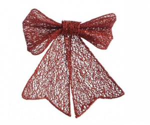 KAEMINGK In Plastic Bow W Glitter W Hanger Mesh Material Tree Christmas Decorations 189