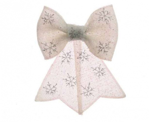 KAEMINGK In Plastica Bow W Glitter W Hanger W Neveflake Print Albero Natale 997